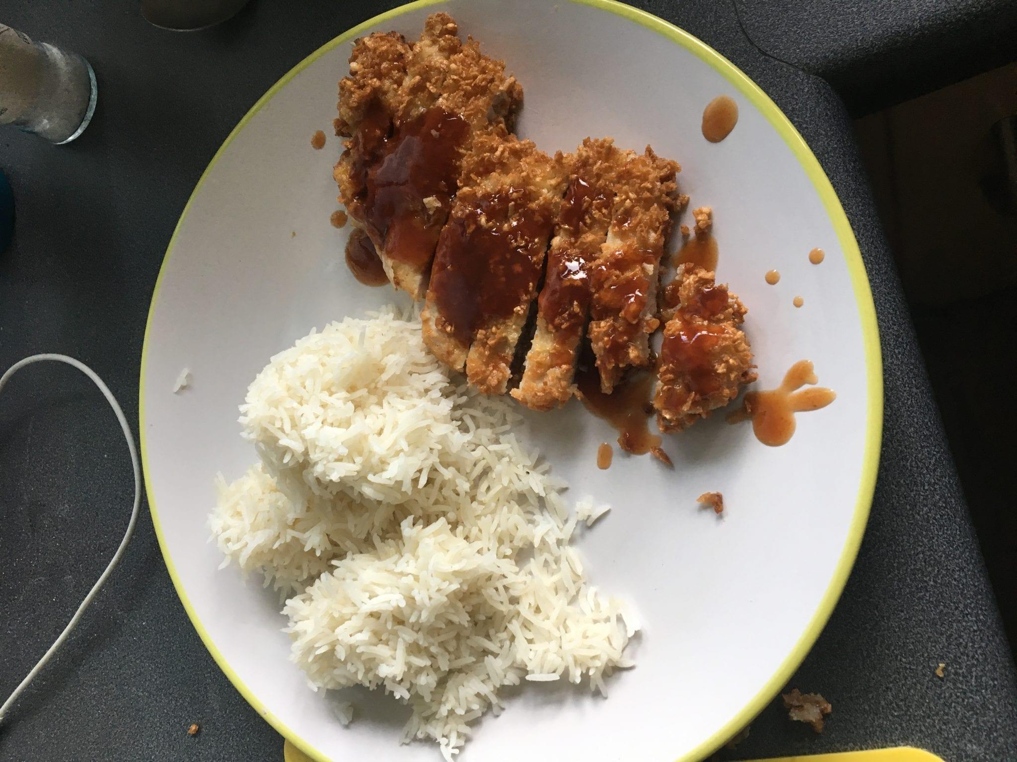 Pork Tonkatsu served with rice