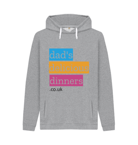 dad's delicious dinners hoodie in grey