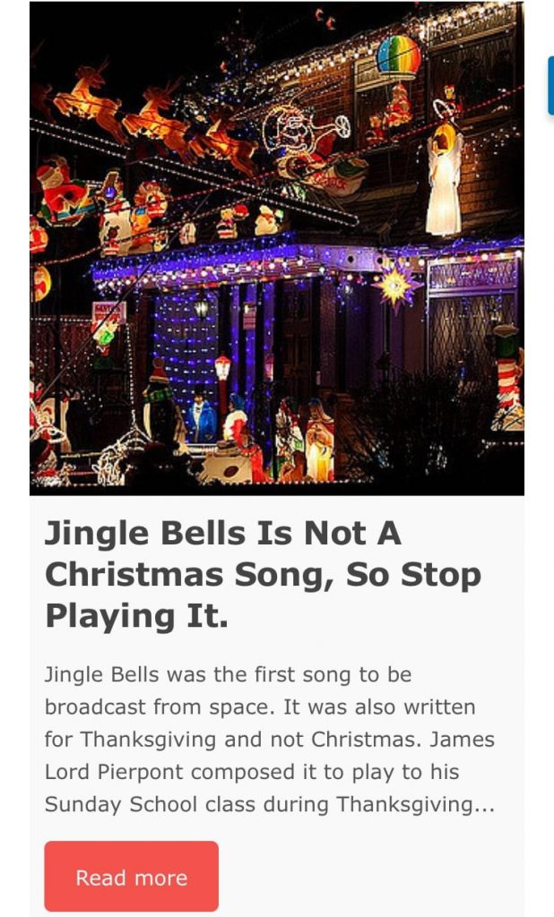 screen shot of jingle bells is not a Christmas song article