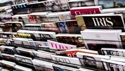 magazine rack in shop