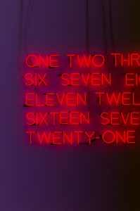 neon lights showing numbers 1 to 21