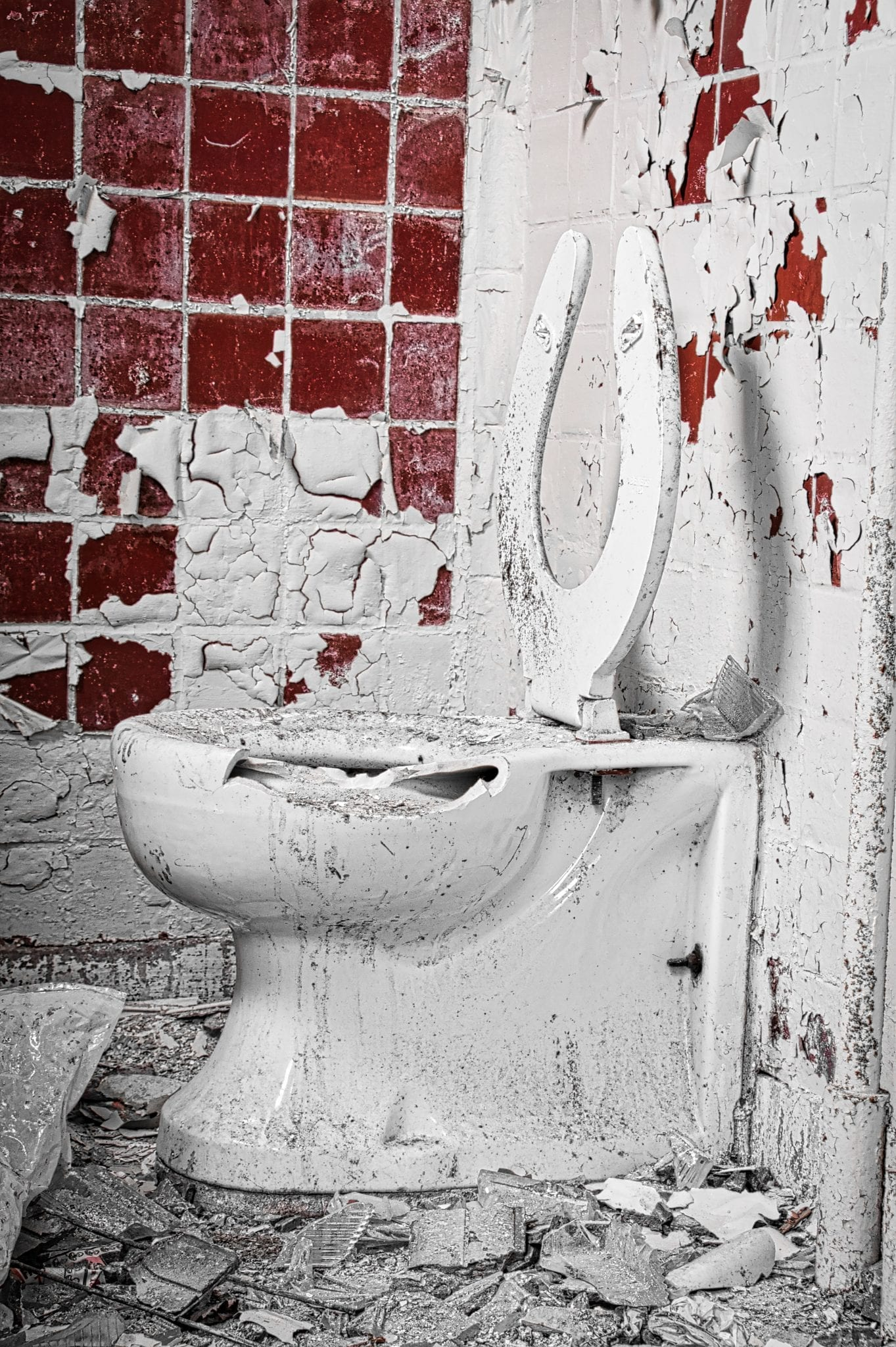 messy and broken toilet