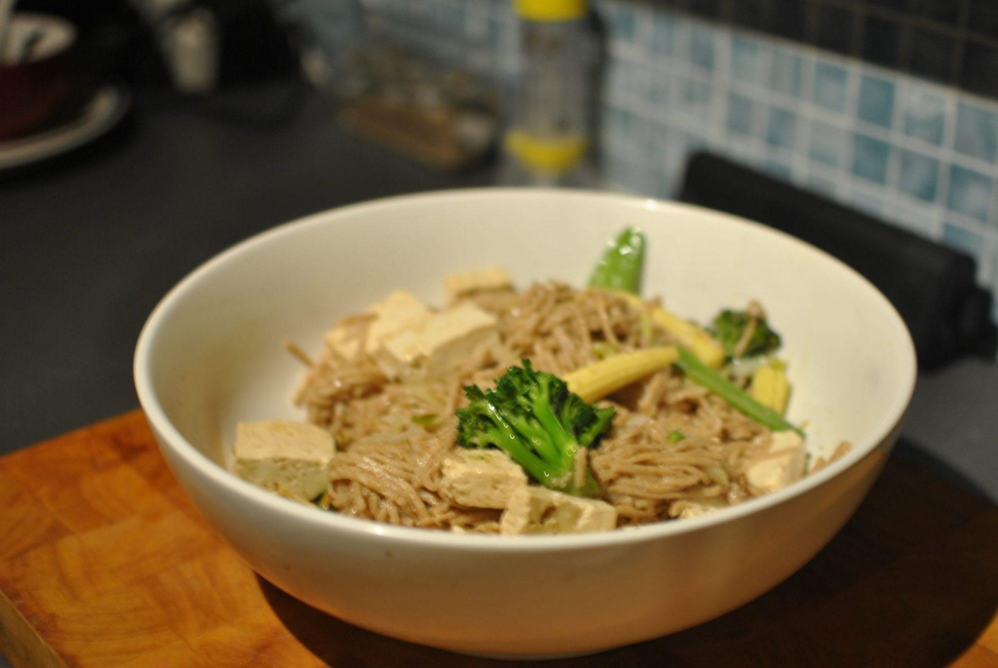 bowl of tofu noodles