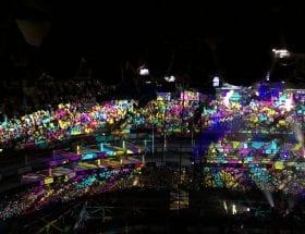 multi coloured light show over school choir