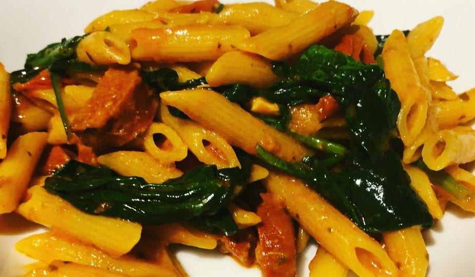 Chorizo, spinach and tomato Pasta with Red Pesto