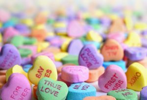 love heart sweets for valentines day