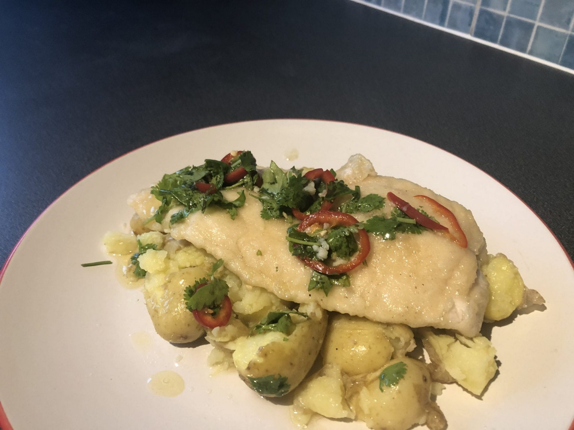 Basa fillet with chilli and coriander salsa
